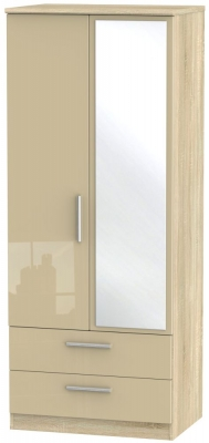 Knightsbridge 2 Door Combi Wardrobe - High Gloss Mushroom and Bardolino