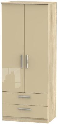 Knightsbridge 2 Door 2 Drawer Wardrobe - High Gloss Mushroom and Bardolino