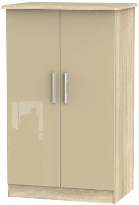 Knightsbridge High Gloss Mushroom and Bardolino 2 Door Plain Midi Wardrobe