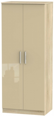 Knightsbridge 2 Door Wardrobe - High Gloss Mushroom and Bardolino