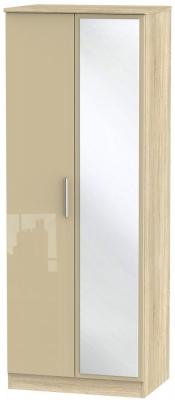 Knightsbridge 2 Door Tall Mirror Wardrobe - High Gloss Mushroom and Bardolino