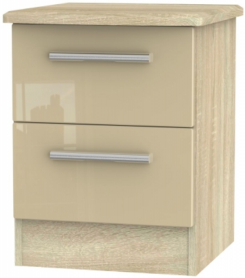 Knightsbridge 2 Drawer Bedside Cabinet - High Gloss Mushroom and Bardolino