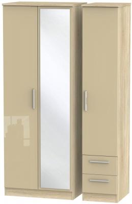 Knightsbridge 3 Door 2 Right Drawer Tall Combi Wardrobe - High Gloss Mushroom and Bardolino