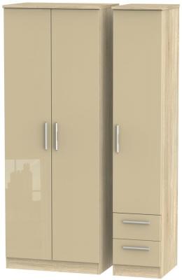 Knightsbridge 3 Door 2 Right Drawer Tall Wardrobe - High Gloss Mushroom and Bardolino