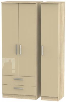 Knightsbridge 3 Door 2 Left Drawer Tall Wardrobe - High Gloss Mushroom and Bardolino