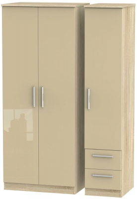 Knightsbridge High Gloss Mushroom and Bardolino 3 Door 2 Drawer Triple Wardrobe