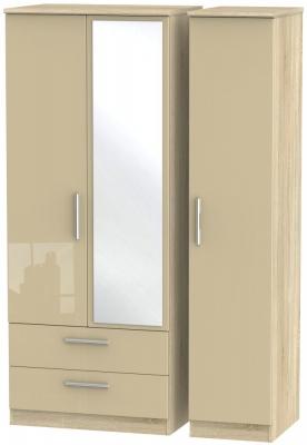 Knightsbridge 3 Door 2 Left Drawer Combi Wardrobe - High Gloss Mushroom and Bardolino