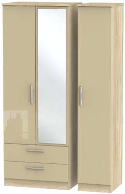 Knightsbridge 3 Door 2 Left Drawer Tall Combi Wardrobe - High Gloss Mushroom and Bardolino