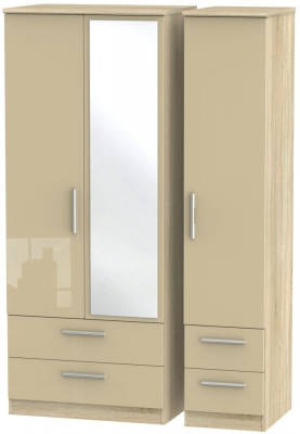 Knightsbridge 3 Door 4 Drawer Combi Wardrobe - High Gloss Mushroom and Bardolino