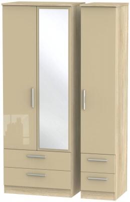 Knightsbridge 3 Door 4 Drawer Tall Combi Wardrobe - High Gloss Mushroom and Bardolino