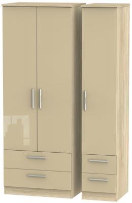 Knightsbridge 3 Door 4 Drawer Tall Wardrobe - High Gloss Mushroom and Bardolino