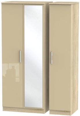 Knightsbridge 3 Door Mirror Wardrobe - High Gloss Mushroom and Bardolino