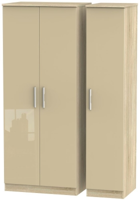 Knightsbridge 3 Door Wardrobe - High Gloss Mushroom and Bardolino