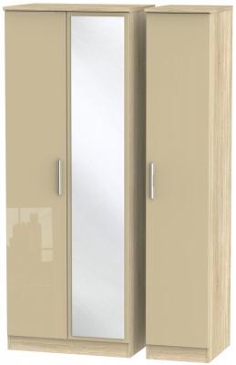 Knightsbridge 3 Door Tall Mirror Wardrobe - High Gloss Mushroom and Bardolino