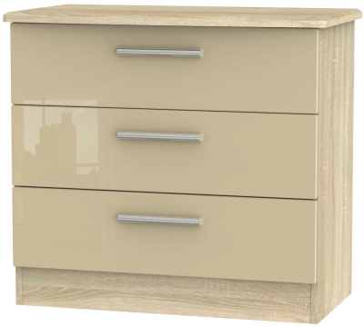 Knightsbridge 3 Drawer Chest - High Gloss Mushroom and Bardolino
