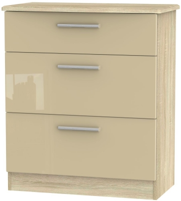 Knightsbridge 3 Drawer Deep Chest - High Gloss Mushroom and Bardolino