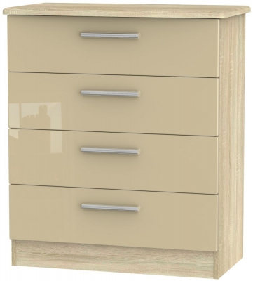 Knightsbridge 4 Drawer Chest - High Gloss Mushroom and Bardolino