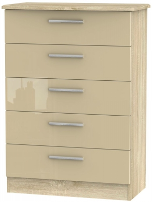 Knightsbridge 5 Drawer Chest - High Gloss Mushroom and Bardolino