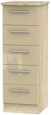 Knightsbridge 5 Drawer Tall Chest - High Gloss Mushroom and Bardolino