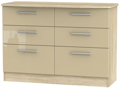 Knightsbridge 6 Drawer Midi Chest - High Gloss Mushroom and Bardolino