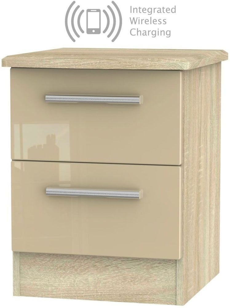Knightsbridge 2 Drawer Bedside Cabinet with Integrated Wireless Charging - High Gloss Mushroom and Bardolino
