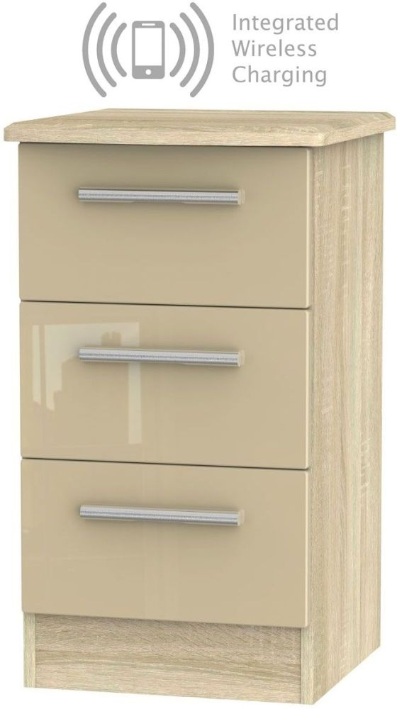 Knightsbridge 3 Drawer Bedside Cabinet with Integrated Wireless Charging - High Gloss Mushroom and Bardolino