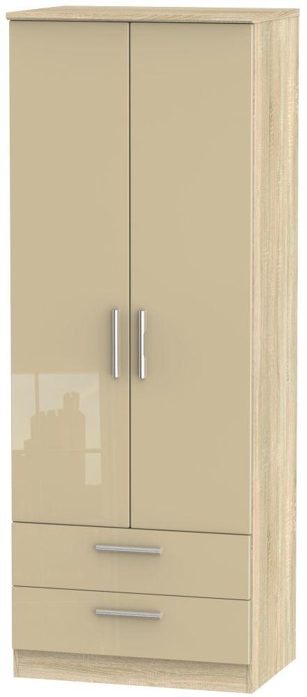Knightsbridge 2 Door 2 Drawer Tall Wardrobe - High Gloss Mushroom and Bardolino