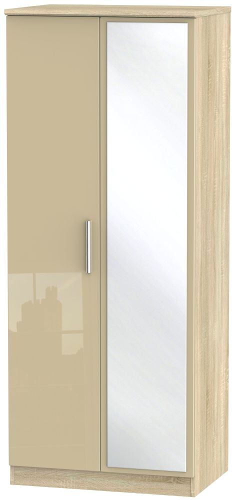 Knightsbridge High Gloss Mushroom and Bardolino 2 Door Mirror Wardrobe