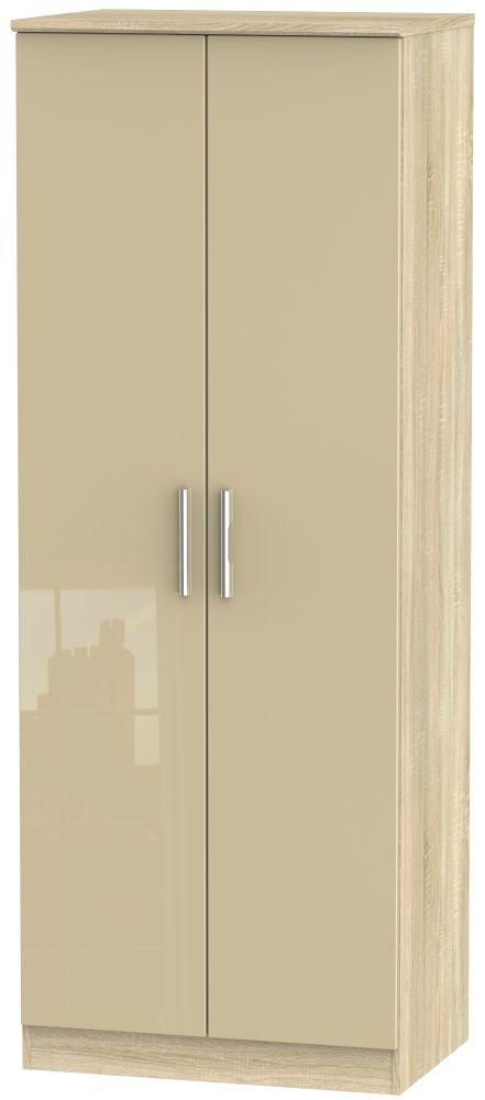Knightsbridge High Gloss Mushroom and Bardolino 2 Door Tall Double Hanging Wardrobe