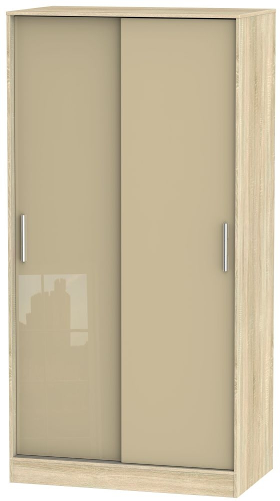 Knightsbridge High Gloss Mushroom and Bardolino 2 Door Wide Sliding Wardrobe