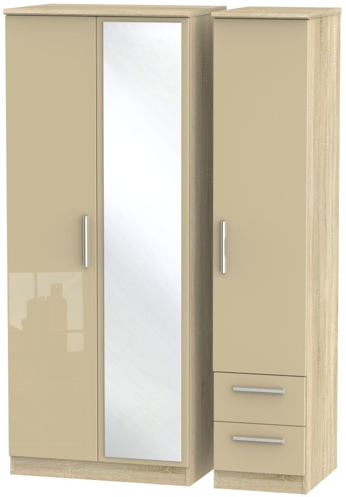 Knightsbridge High Gloss Mushroom and Bardolino 3 Door 2 Drawer Mirror Triple Wardrobe