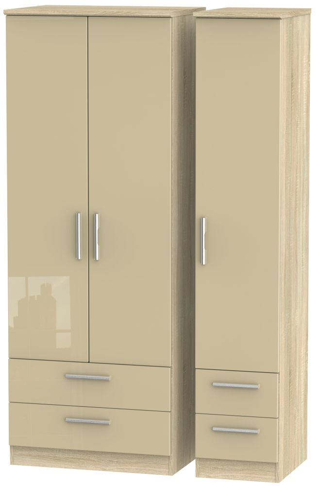 Knightsbridge 3 Door 4 Drawer Tall Wardrobe - High Gloss Mushroom and Bardolino