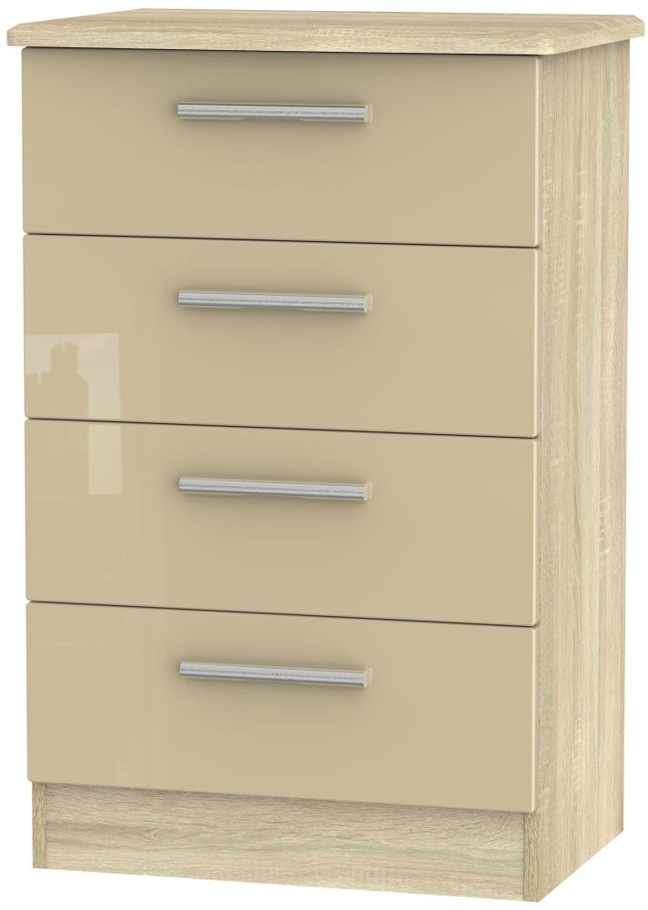 Buy Knightsbridge 4 Drawer Midi Chest - High Gloss Mushroom and Bardolino at £194.00 from Choice Furniture Superstore