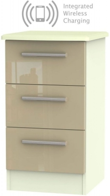 Knightsbridge 3 Drawer Bedside Cabinet with Integrated Wireless Charging - High Gloss Mushroom and Cream