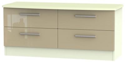 Knightsbridge High Gloss Mushroom and Cream Bed Box - 4 Drawer