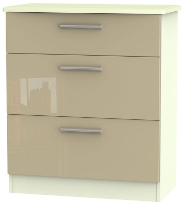 Knightsbridge High Gloss Mushroom and Cream Chest of Drawer - 3 Drawer Deep