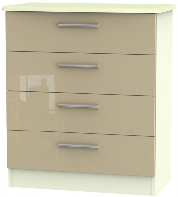 Knightsbridge High Gloss Mushroom and Cream Chest of Drawer - 4 Drawer