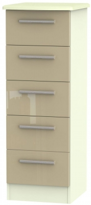 Knightsbridge High Gloss Mushroom and Cream Chest of Drawer - 5 Drawer Locker