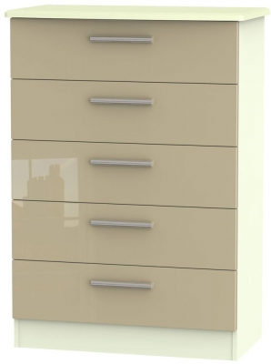 Knightsbridge High Gloss Mushroom and Cream Chest of Drawer - 5 Drawer