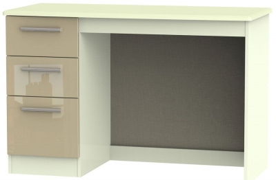 Knightsbridge High Gloss Mushroom and Cream Desk - 3 Drawer