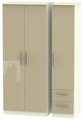 Knightsbridge High Gloss Mushroom and Cream Triple Wardrobe - Plain with 2 Drawer