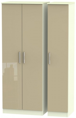 Knightsbridge 3 Door Tall Wardrobe - High Gloss Mushroom and Cream
