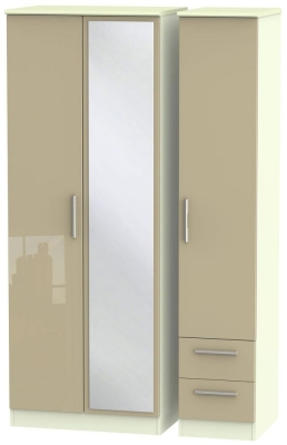 Knightsbridge 3 Door 2 Right Drawer Tall Combi Wardrobe - High Gloss Mushroom and Cream