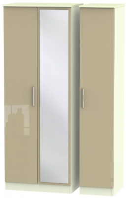 Knightsbridge 3 Door Tall Mirror Wardrobe - High Gloss Mushroom and Cream