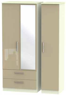 Knightsbridge High Gloss Mushroom and Cream Triple Wardrobe with 2 Drawer and Mirror