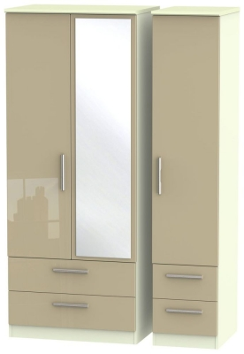 Knightsbridge High Gloss Mushroom and Cream Triple Wardrobe with Drawer and Mirror