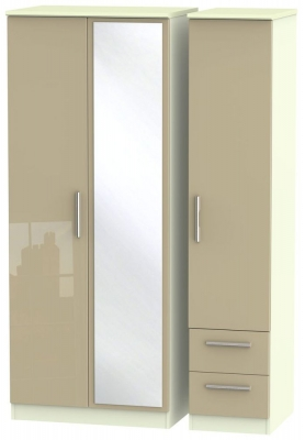 Knightsbridge 3 Door 2 Right Drawer Combi Wardrobe - High Gloss Mushroom and Cream