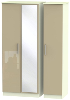 Knightsbridge 3 Door Mirror Wardrobe - High Gloss Mushroom and Cream