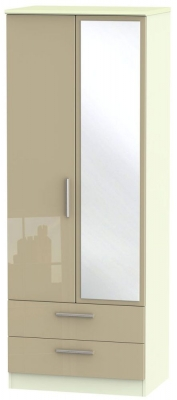 Knightsbridge 2 Door Tall Combi Wardrobe - High Gloss Mushroom and Cream