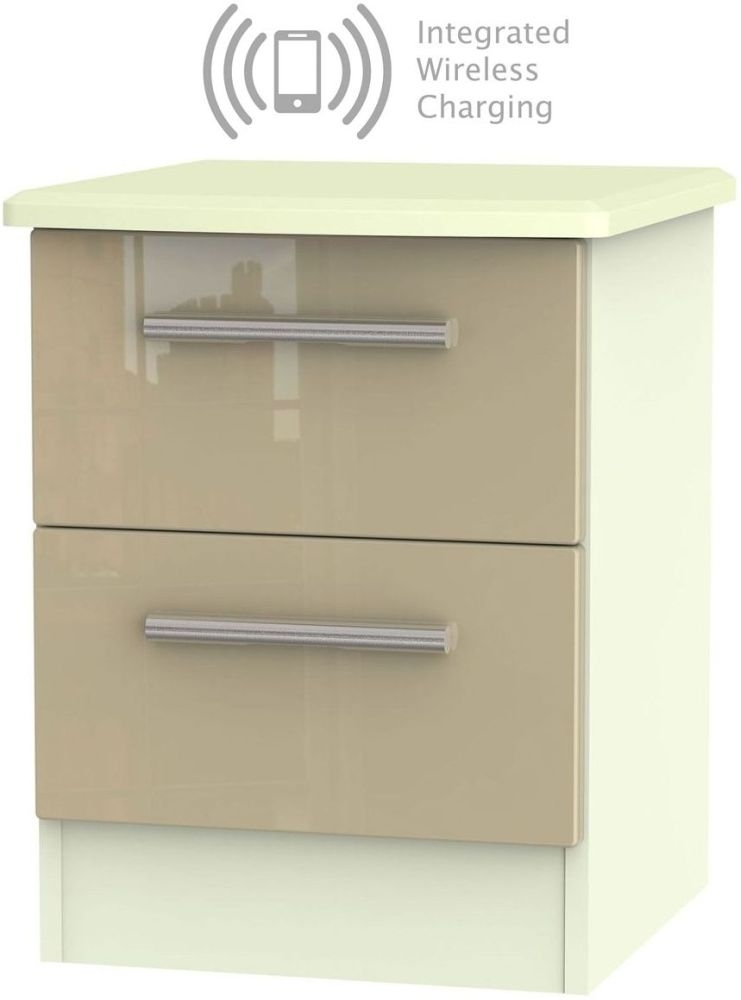 Knightsbridge 2 Drawer Bedside Cabinet with Integrated Wireless Charging - High Gloss Mushroom and Cream